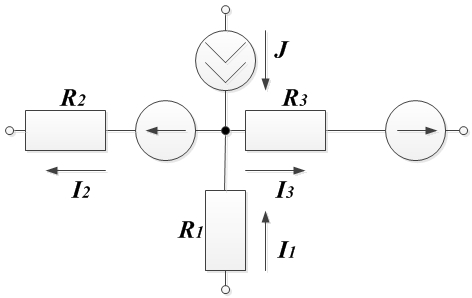 Пример 1. Рисунок к первому закону Кирхгофа