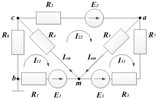Пример 3. Рисунок к методу контурных токов