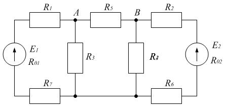 Схема к примеру 5. Метод  эквивалентного генератора