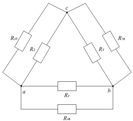 Схема к примеру 6. Преобразование звезды в треугольник