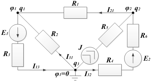 Пример 4. Рисунок к методу узловых потенциалов
