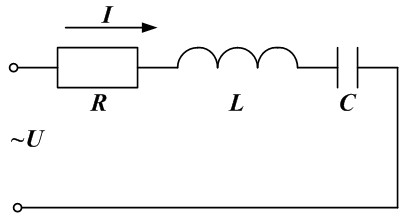 Схема электрической цепи с последовательным соединением  R, L, C