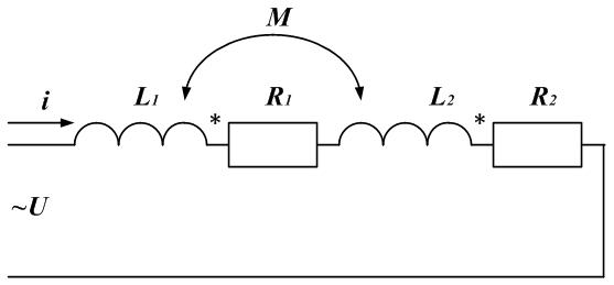 Рисунок: последовательное соединение катушек