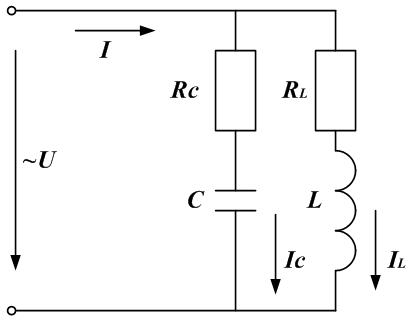 Схема параллельного соединения реактивных элементов