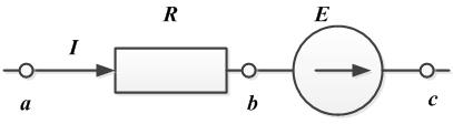 Рисунок №1 к закону Ома для участка цепи, содержащего источник ЭДС