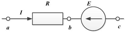 Рисунок №2 к закону Ома для участка цепи, содержащего источник ЭДС